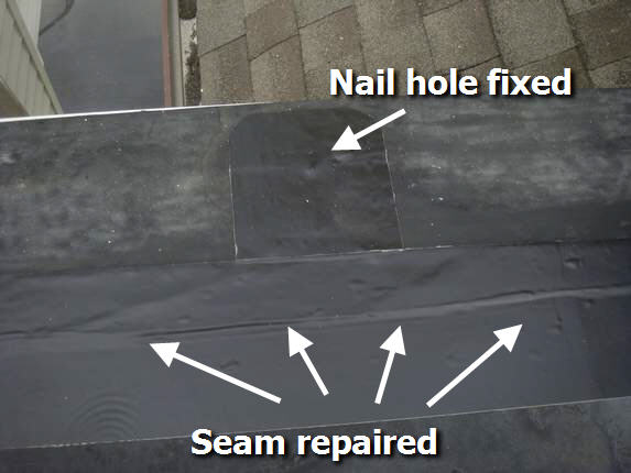 Seam and hole repaired