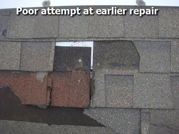 Bad workmanship on attempted repair