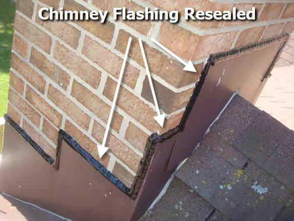 Chimney flashing resealed with Geocel