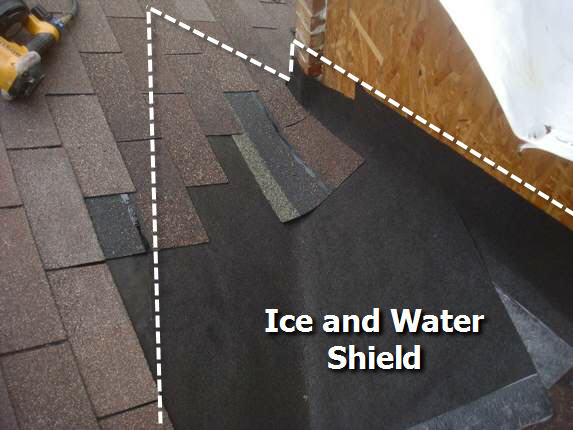 Ice and water shield in valley