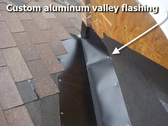 Custom valley flashing